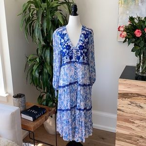 Free People Blue Floral Embroidered Maxi Dress S